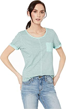 Yarn-Dye Stripe Short Sleeve Top w/ Pocket