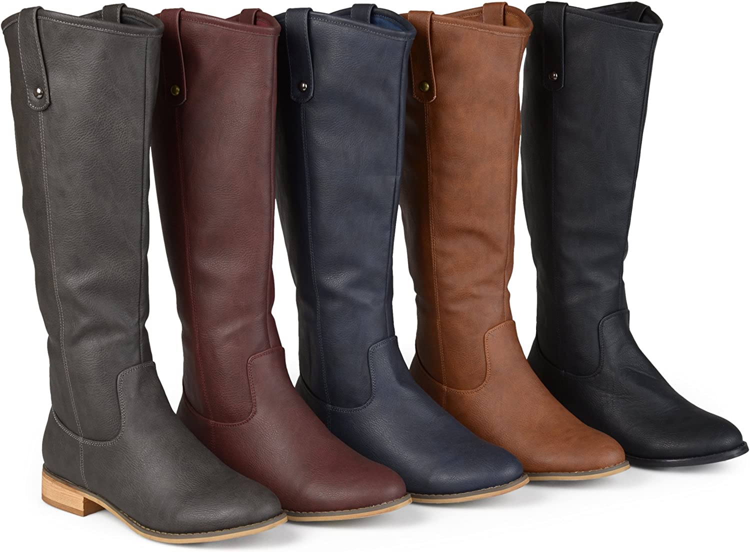 Brinley Co. Womens Faux Leather Regular, Wide and Extra Wide Calf Mid-Calf Round Toe Boots Black, 6 Extra Wide Calf US