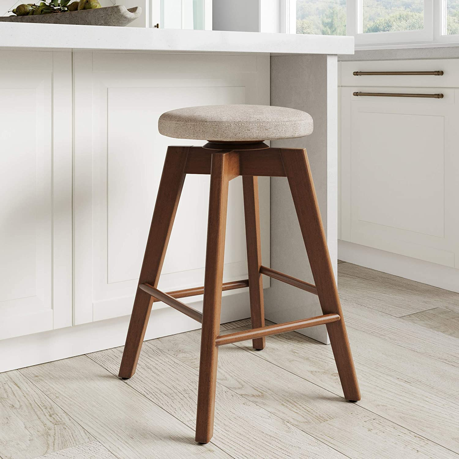 Nathan James Amalia Backless Kitchen Counter Height Bar Stool, Solid Wood  with 9 Swivel Seat, Natural Wheat/Antique Coffee