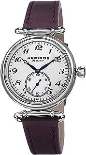 Akribos XXIV Womens Quartz Watch, Analog Display and Leather Strap AK704PU