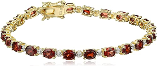 """18k Yellow Gold-Plated Sterling Silver Diamond Accent Two-Tone Gemstone and Tennis Bracelet, 7.25"""""""