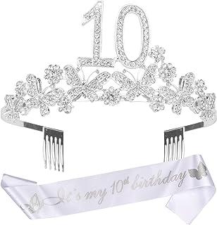 10th Birthday Gifts for Girls, 10th Birthday Tiara and Sash, It's My 10th Birthday Sash and Crystal Tiara, 10th Birthday D...