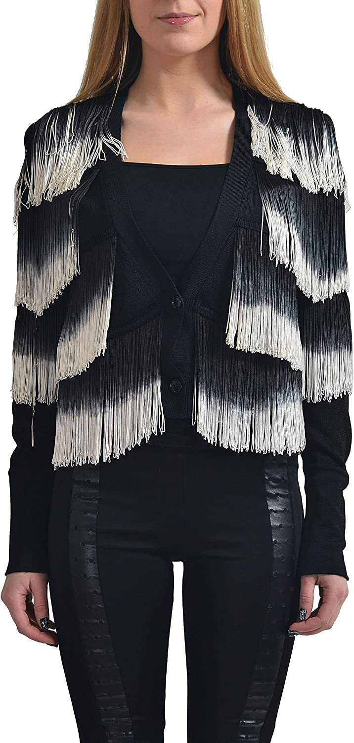 Just Cavalli Women's Multicolor Fringe Decorated Cardigan Sweater US S IT 40