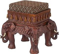 Design Toscano Maharajah Elephants Indian Decor Upholstered Footstool, 13 Inch, Woodtone
