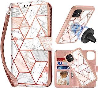 CASEOWL Funda compatible con iPhone 11 Funda tipo cartera magnética desmontable [Soporte soporte magnético para coche] con...