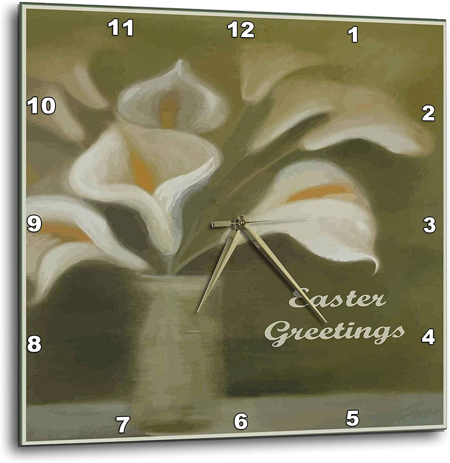3dRose Ten White Calla Lilies in a Green Translated vase Low price sage with Easte on
