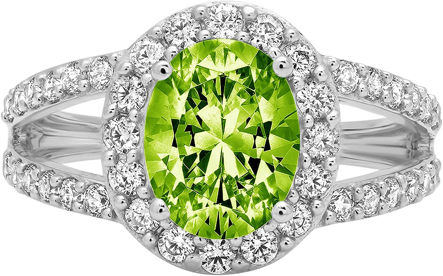 2.24 ct Oval Cut Solitaire Accent Halo split shank Genuine Flawless Natural Green Peridot Gemstone Engagement Promise Statement Anniversary Bridal Wedding Ring Solid 18K White Gold
