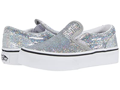 Vans Kids Classic Slip-On (Little Kid) ((Micro Sequins) Silver/True White) Girls Shoes