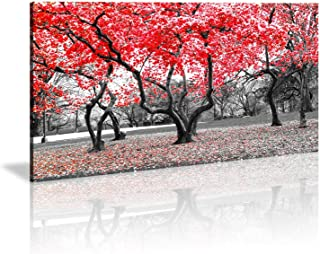 Wall Art Modern Canvas Painting Wall Art The Picture for Home Decoration Black White and Red Tree Landscape Print On Canvas Giclee Artwork for Wall Decor