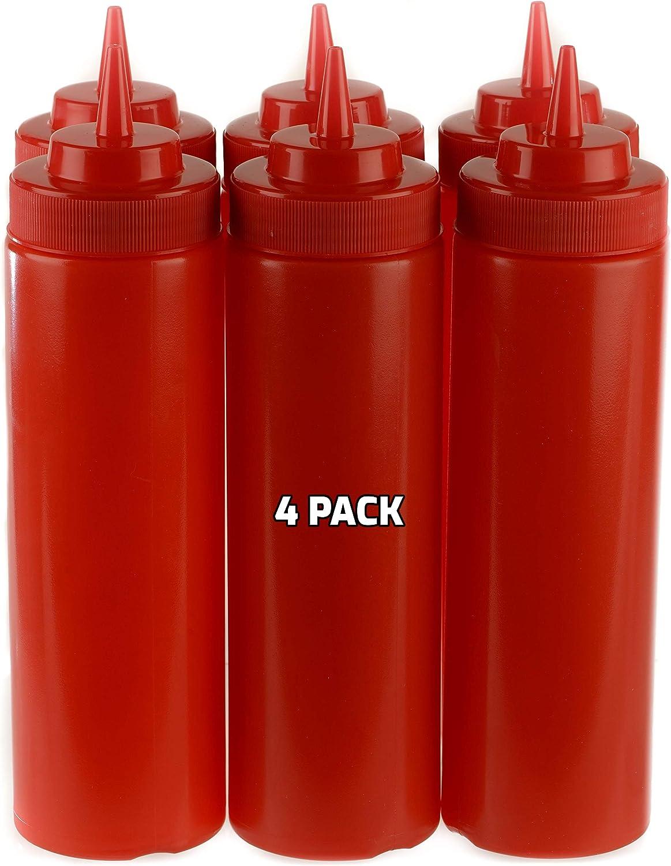 4 PACK 24 Manufacturer OFFicial shop Oz Red Plastic Bottles Bott Max 75% OFF Squirt Condiment Squeeze