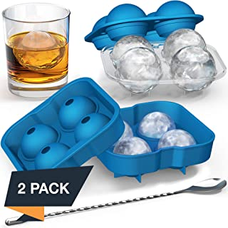 Ice Ball Mold with Stirring Spoon — Whiskey Ice Ball Maker for Husband — Includes Large and Small Sphere Ice Mold to Create Ice Balls — Round Ice Cube Mold, Ice Molds for Whiskey, Ball Ice Cube Mold