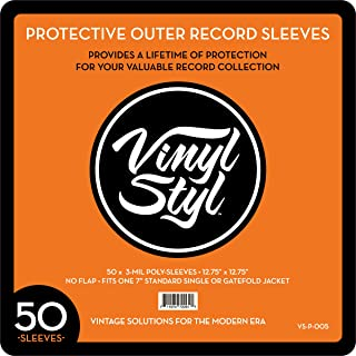 """Vinyl Styl LP用ビニールカバー323mm x 323 mm 50枚セット / 12.75"""" X 12.75"""" 3 Mil Protective Outer Record Sleeve 50CT"""