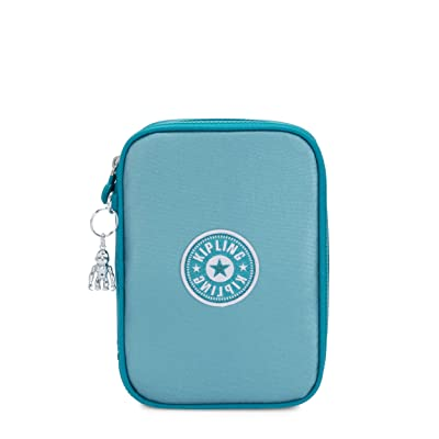 Kipling 100 Pens Case (Turqouise Sea Metallic Block) Travel Pouch