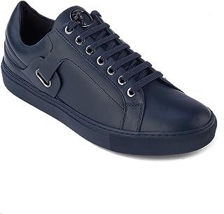 419944e6893 Versace Collection Men's Leather Medusa Logo Low Top Sneaker Shoes Tonal  Navy Blue