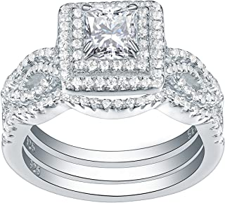 Newshe Wedding Engagement Ring Set for Women 925 Sterling Silver 3pcs 2.4Ct Princess White Cz Sz...