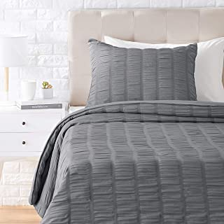 Amazon Basics Seersucker Comforter Set - Premium, Soft, Easy-Wash Microfiber - Twin/Twin XL, Dark Grey