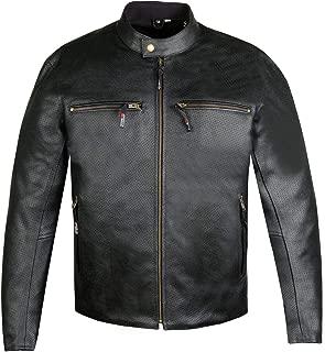 Men's Infinity Airflow Perforated Leather Motorcycle Armor Biker Jacket XXL