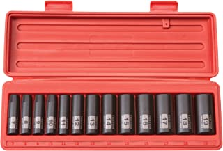 TEKTON 3/8-Inch Drive Deep Impact Socket Set, Metric, Cr-V, 6-Point, 7 mm - 19 mm, 13-Sockets | 47925