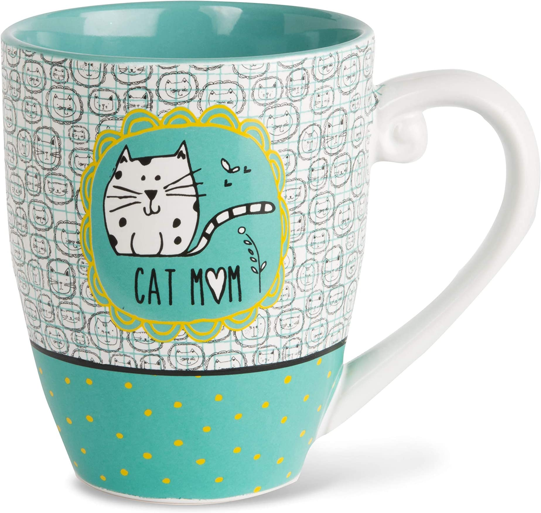 It's Cats & Dogs Cat Mom Ceramic Extra Large Coffee Mug Tea Cup, 20 oz, Teal