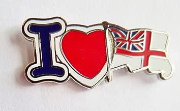 I Love The Royal Navy White Ensign Pin, diseño de amapola y bandera-Mod Aprobado