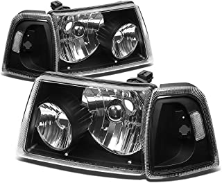 For Ford Ranger 4Pcs Black Housing Clear Corner Headlight+Corner Lights Kit Replacement