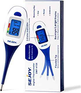 Digital Oral Thermometer for Adults and Kids, Fast Reading & Predictive 5 Seconds, Accurate Body Temporal Thermometer for Fever, Flexible Tip Baby Rectal Thermometer