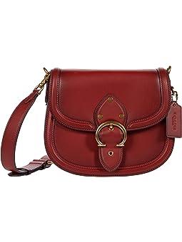 COACH Glovetanned Leather Beat Saddle Bag,B4/Red Sand