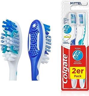 Colgate Szczoteczka do zębów Total środek czyszczący, zestaw 2 szt. – ręczna szczoteczka do zębów czyści powierzchnie zębó...