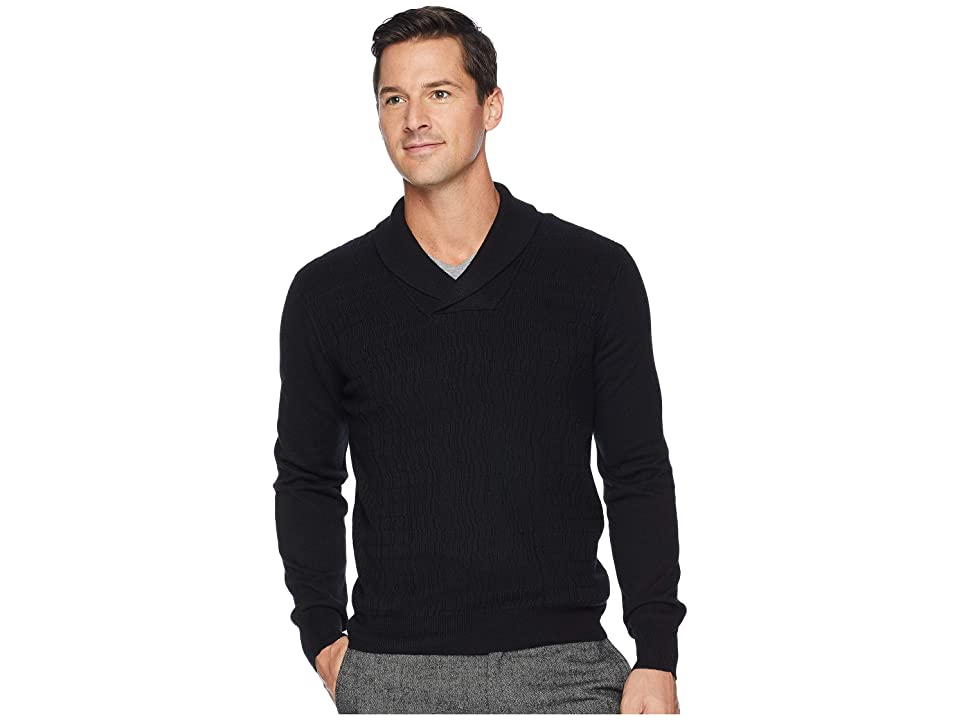 Perry Ellis Texture Pattern Shawl Pullover Sweater (Black) Men
