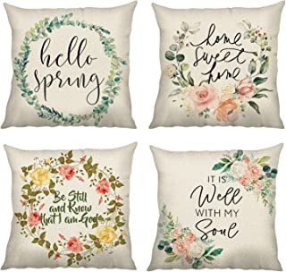Bonhause Farmhouse Quotes Throw Pillow Covers 18 x 18 Inch Set of 4 Hello Spring Flower Decorative Throw Pillow Cases Cotton Linen Square Cushion Covers for Sofa Couch Car Bedroom Home Décor