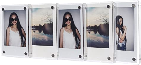 CAIUL Compatible Clear Acrylic Fridge Magnetic Frame, Double Sided Photo Magnet Frame for Fujifilm Instax Mini 9 8 8+ 70 7s 90 25 26 50s Film, 5 pcs
