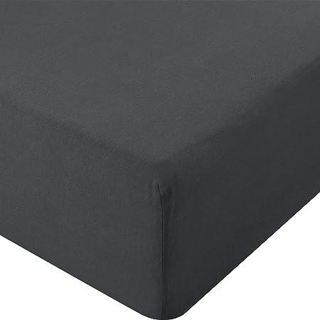 Utopia Bedding - Drap-Housse en Jersey - Polycotton - Poche Profonde de 35 cm (160 x 200 cm, Anthracite)