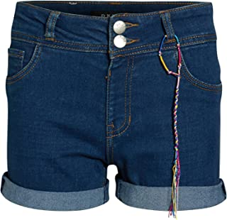 DKNY Girls Soft Touch Stretch Denim Shorts with Two Button Waist