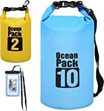 Waterproof Dry Bag All Purpose Dry Sack 3-Pack Dry Compression Sack with Phone Case for Travel, Swimming, Boating, Kayakin...