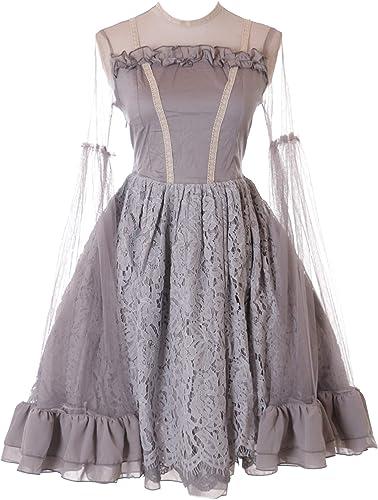 Kawaii-Story JL-639-A Grau grau Kleid Victorian Rococo Stretch Classic Gothic Lolita Kostüm Dress Cosplay (L-XL)