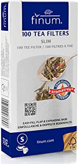 Finum - Filtros de té (100 Unidades, Capacidad máxima para 4 Tazas), Blanco, 75 x 155 mm