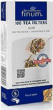 Finum Disposable Paper Tea Filter Bags for Loose Tea, White, Slim, 100 Count