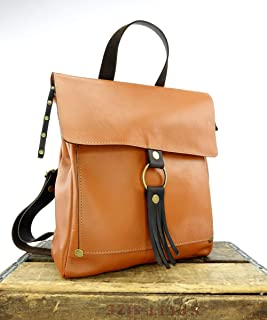 Saddle Tan Leather Convertible Backpack Purse