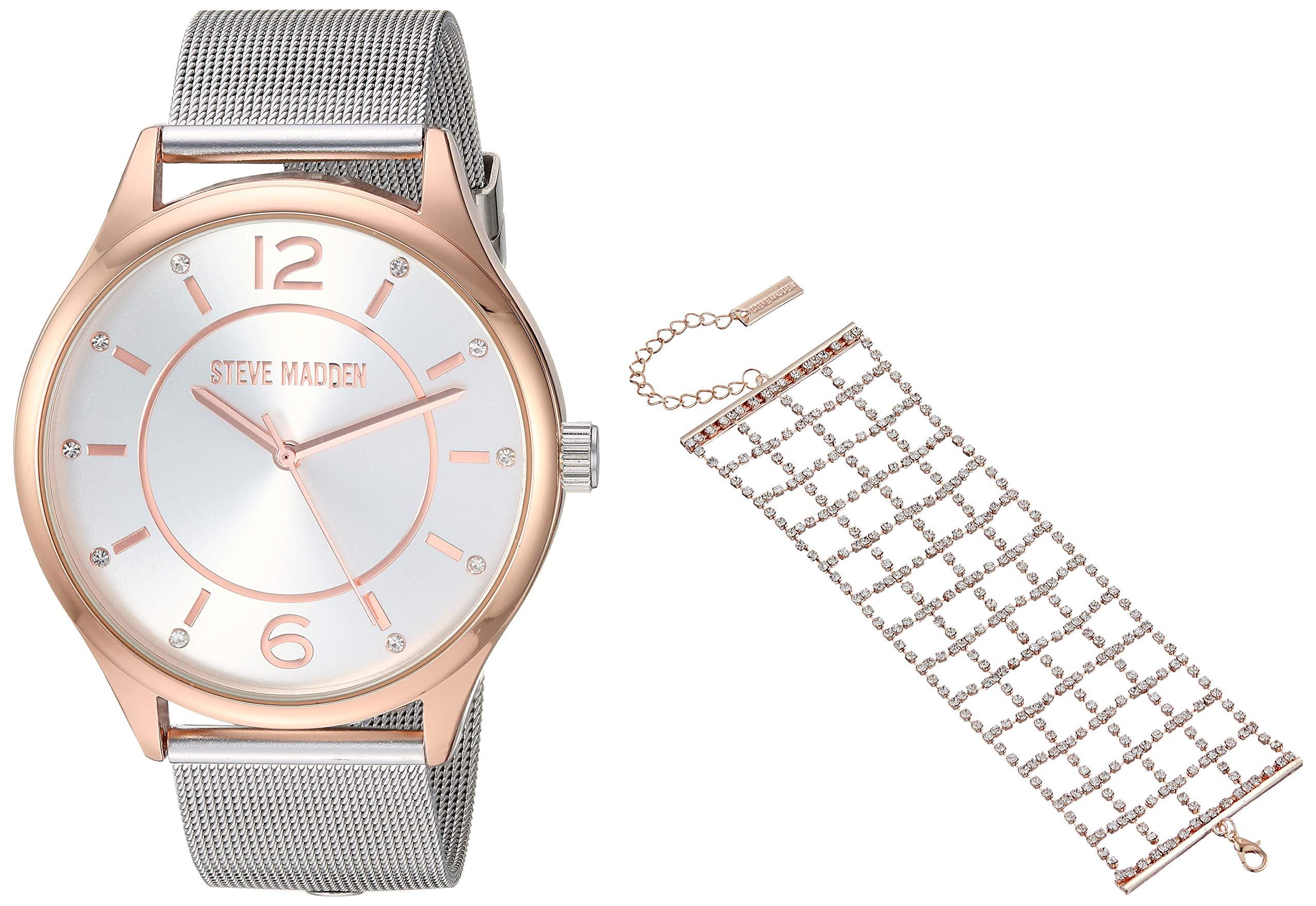 STEVE MADDEN 网眼手表带水钻格子袖口手链女式套装(多种颜色)