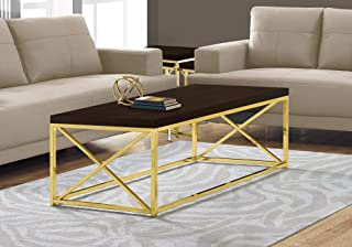 """Monarch Specialties Coffee Table - Modern Cocktail Table with Metal Base, 44"""" L (Cappuccino / Gold)"""