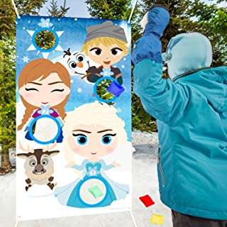 PANTIDE Frozen Toss Game Banner with 4 Bean Bags, Snow Queen Elsa Anna Party Games Activities for Kids and Adults, Frozen Theme Indoor Outdoor Throwing Game Birthday Party Decoration Supplies