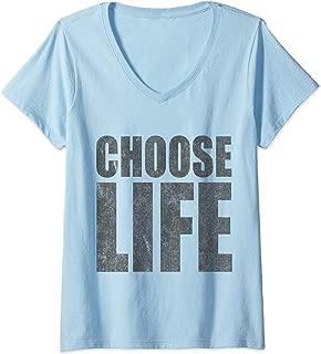 Womens Vintage Choose Life Pro-Life V-Neck T-Shirt
