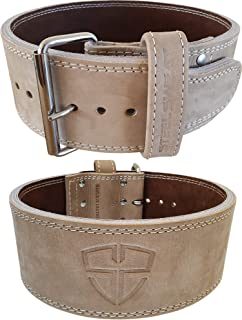 Steel Sweat Weight Lifting Belt - 4 Inches Wide by 10mm - Single Prong Powerlifting Belt That's Heavy Duty - Vegetable Tanned Leather - Hyde Oat