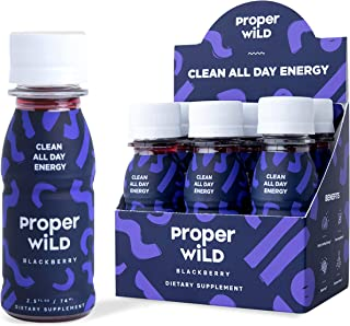 Proper Wild Clean All Day Energy Shots - Blackberry (6-Pack) Extra Strength - Reduced Jitters, No Crash, Smooth Natural Ta...