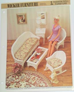 Wicker Furniture - Fashion Doll Furniture - Sofa, Coffee Table, Mirror Frame, Console, Chair, Rocking Chair - Plastic Canvas Patterns (One Design for One Set)