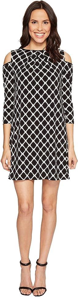 Cold Shoulder Trefoil Jersey Sheath Dress