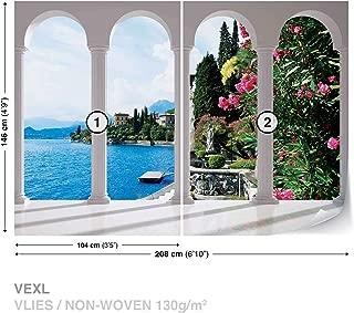 Lake Como Italy Arches Wall Mural Photo Wallpaper Room Décor (2355WS)