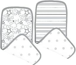 طقم من قطعتين من خيوط الأطفال القطنية من SwaddleDesigns، طقم من قطعتين من خيوط المشبك , Sterling Starshine Shimmer 8x18 inches Grey