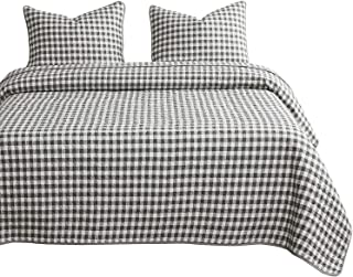 Wake In Cloud - Checker Quilt Set, Gray Grey Buffalo Check Plaid Geometric Modern Pattern Printed, 100% Cotton Fabric with Soft Microfiber Inner Fill Bedspread Coverlet Bedding (3pcs, King Size)