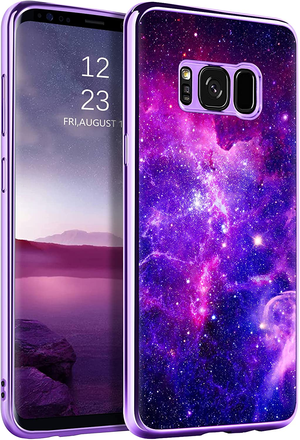 BENTOBEN Galaxy S8 Case, Slim Fit Glow in The Dark Hybrid Hard PC Soft Bumper Drop Protective Phone Cover for Samsung Galaxy S8 5.8 inch, Cool Nebula